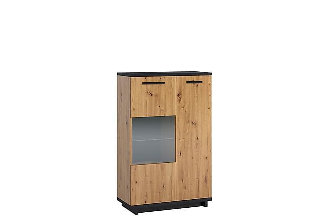 INES Vitrinskåp 40x90 cm Ek/Svart - Möbler & Inredning - Förvaring - Vitrinskåp