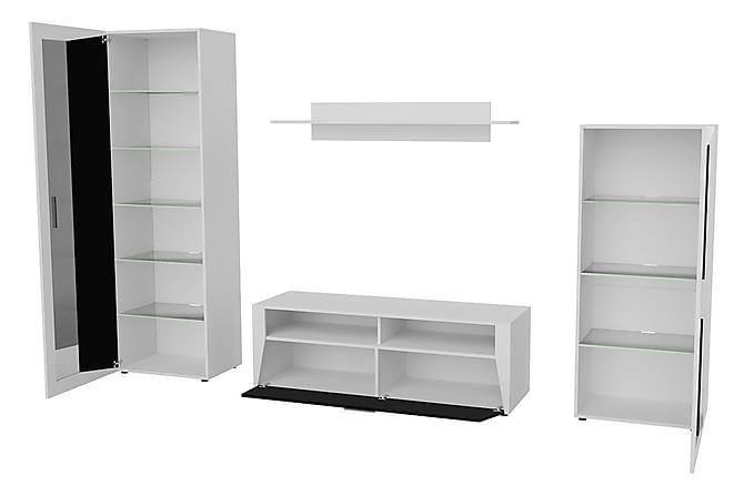 KUTINA Vitrinskåp 60x40x192 Vit/Svart Högglans/Vit Högglans - Vit/Svart Högglans/Vit Högglans - Möbler & Inredning - Förvaring - Vitrinskåp