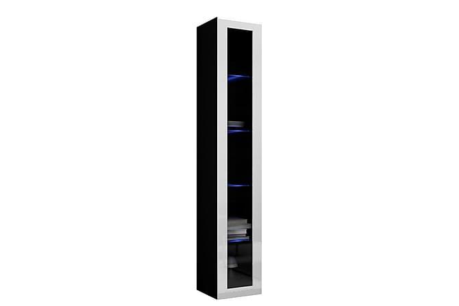 VIGO Vitrinskåp 40x30x180 cm - Svart Vit - Möbler & Inredning - Förvaring - Vitrinskåp