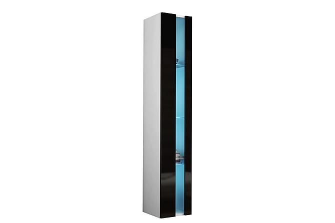 VIGO Vitrinskåp 40x30x180 cm - Svart|Vit - Möbler & Inredning - Förvaring - Vitrinskåp