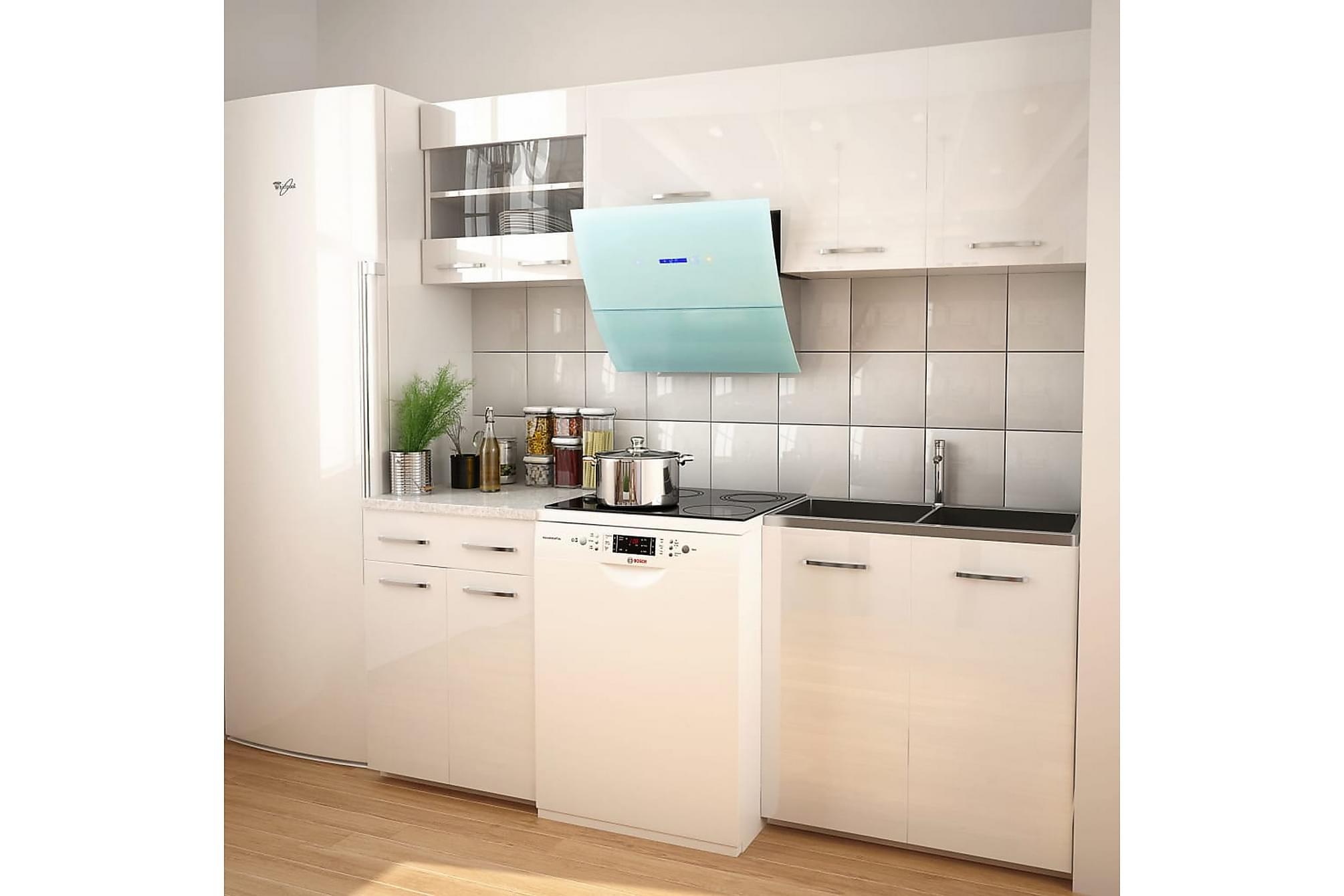 5 delars köksskåp set med köksfläkt högglans vit, Förvaring