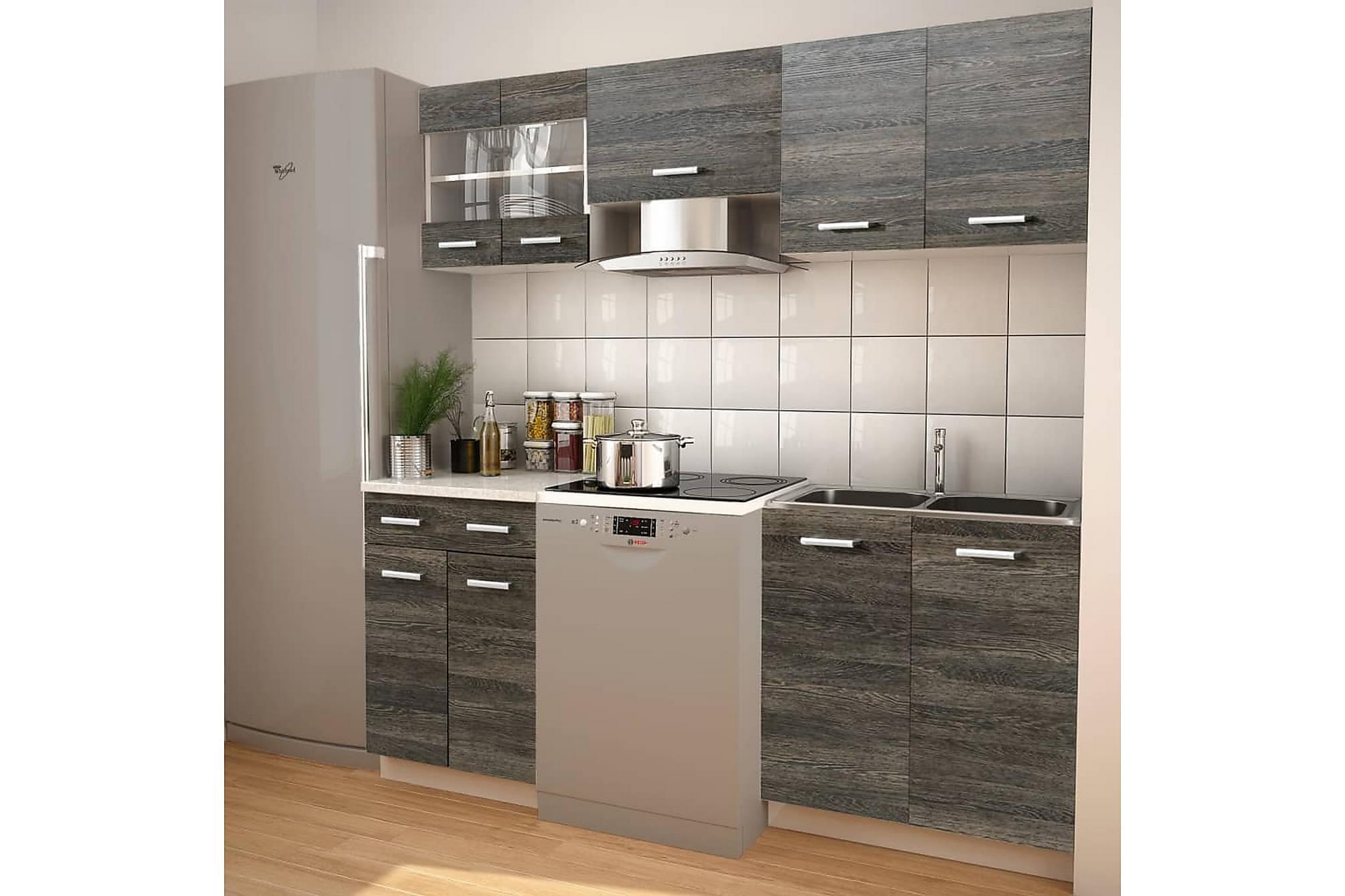 5 delars köksskåp set med köksfläkt wengeimitation, Förvaring