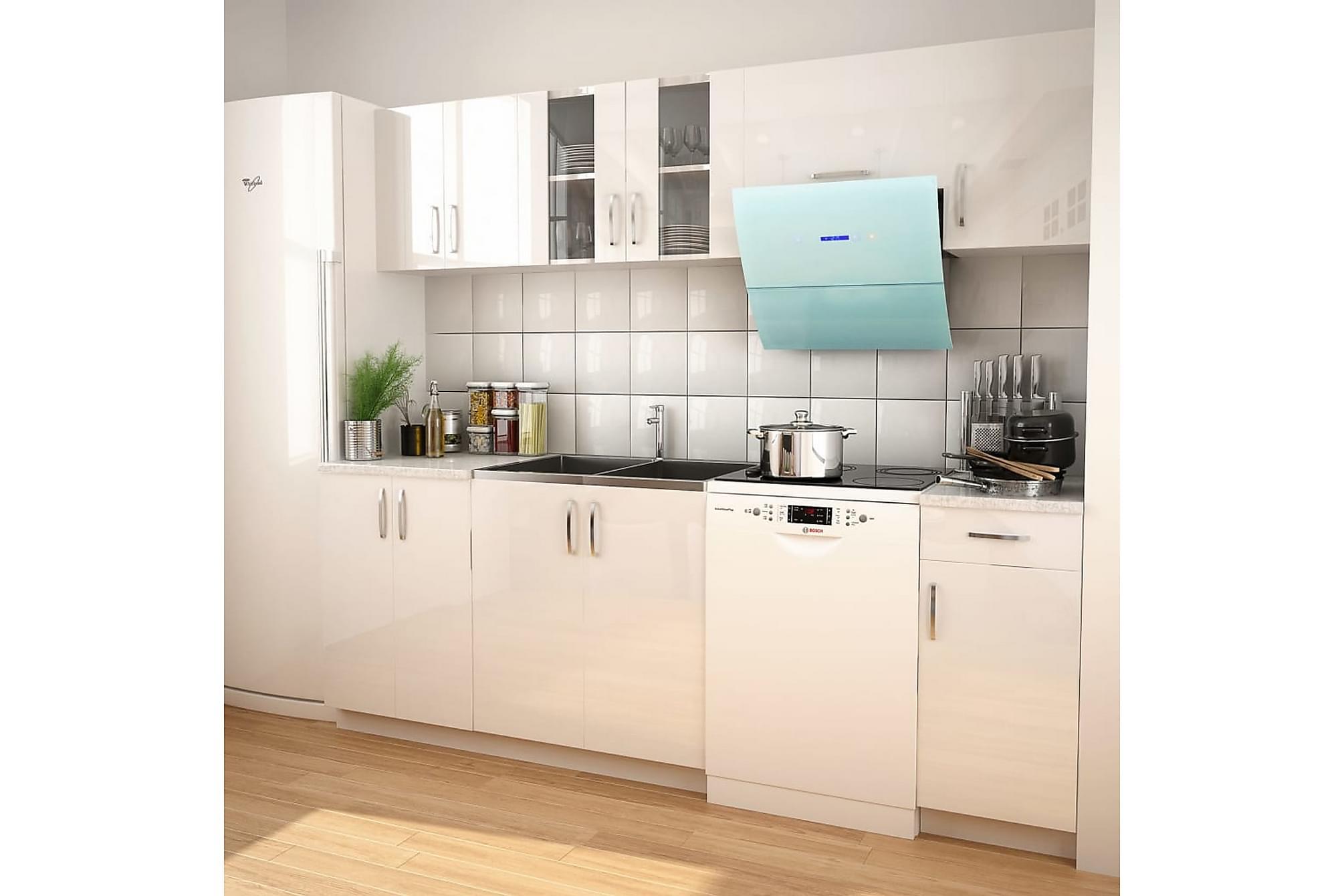 7 delars köksskåp set med köksfläkt högglans vit, Förvaring