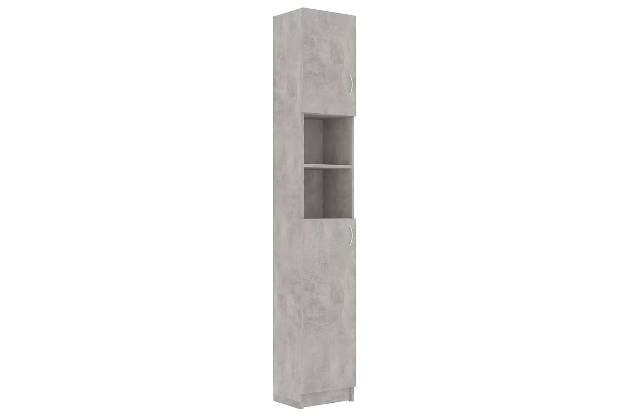 Badrumsskåp betonggrå 32x25,5x190 cm spånskiva, Förvaring
