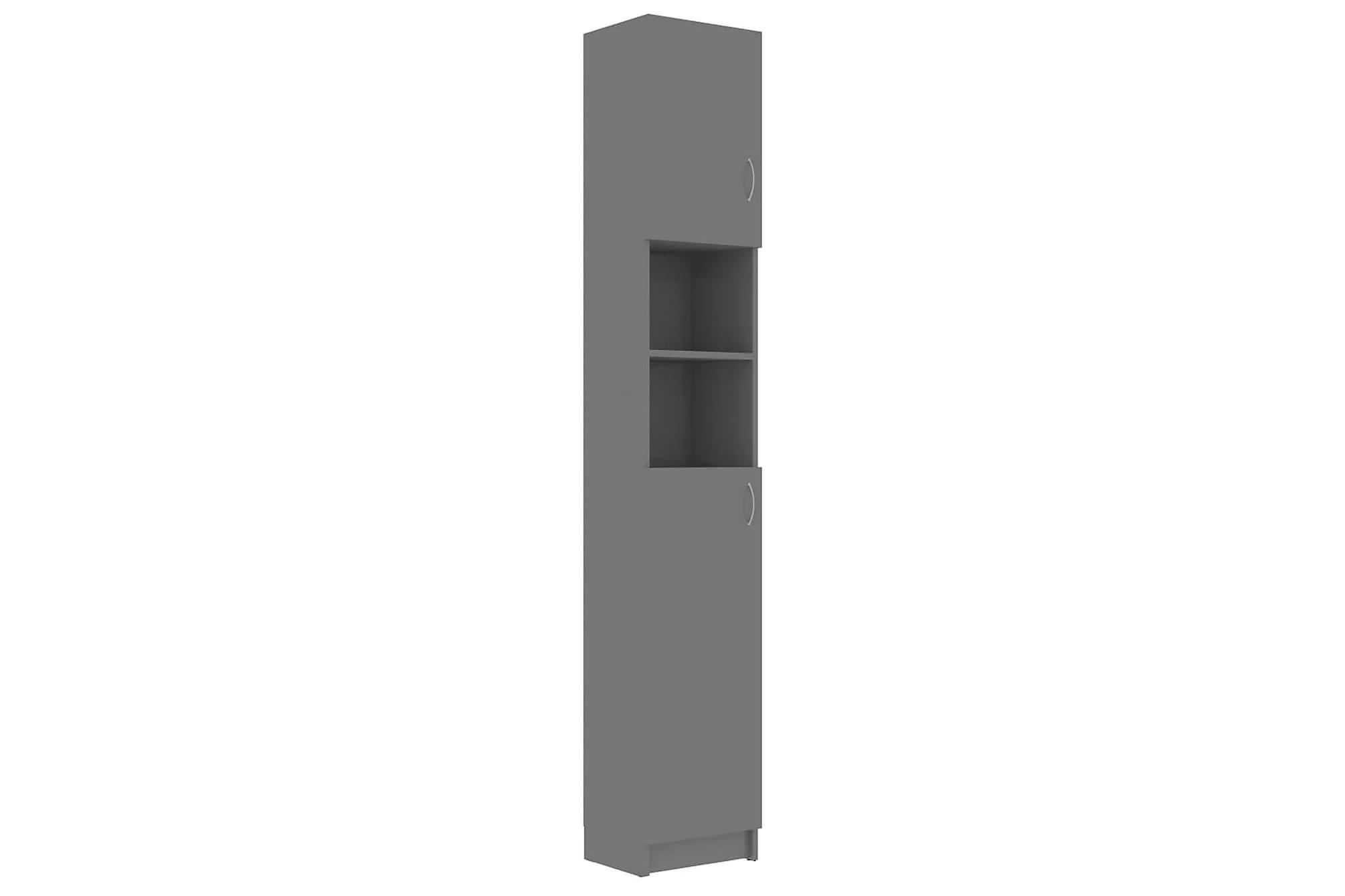 Badrumsskåp grå högglans 32x25,5x190 cm spånskiva, Förvaring