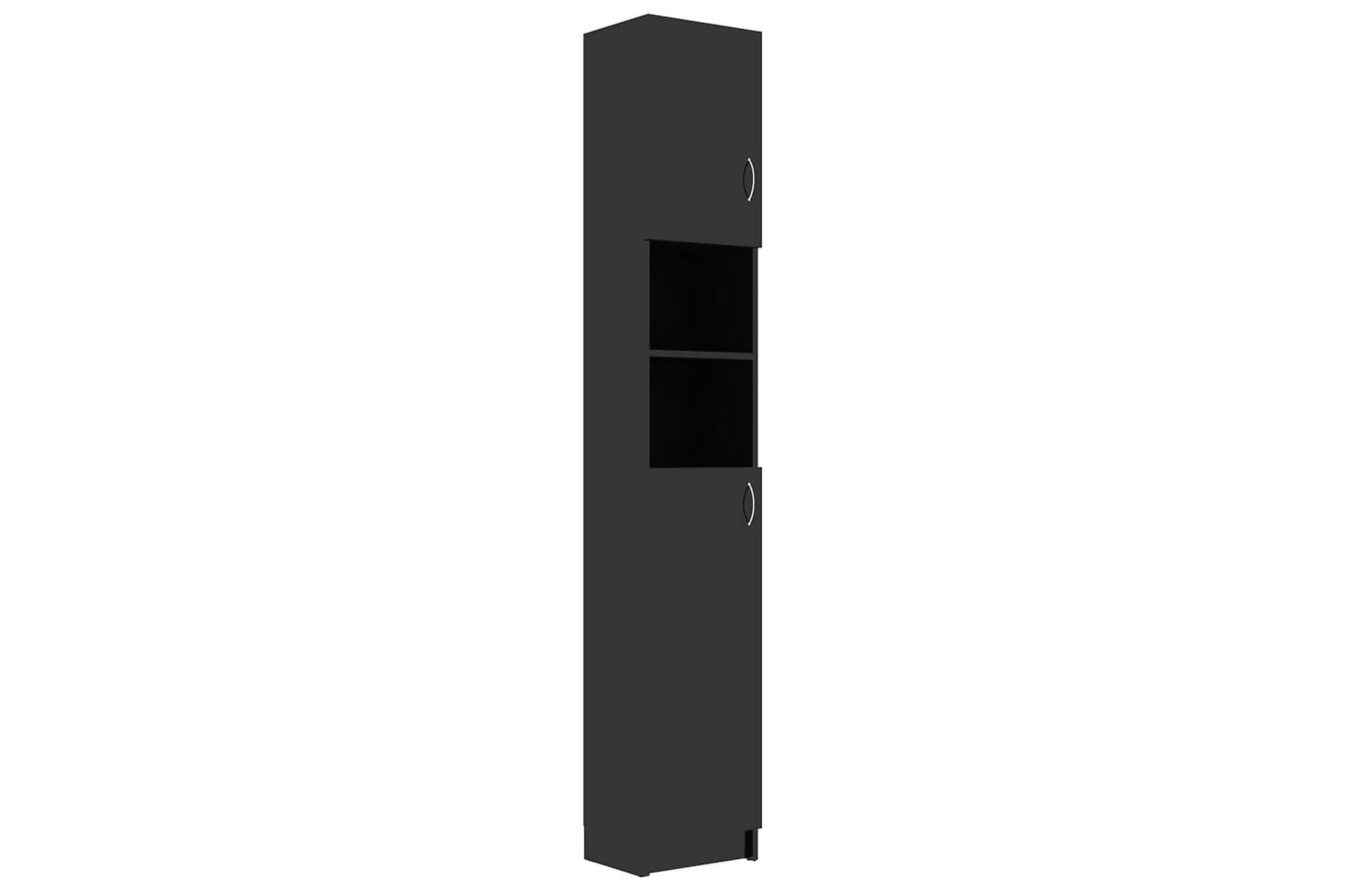 Badrumsskåp svart högglans 32x25,5x190 cm spånskiva, Förvaring