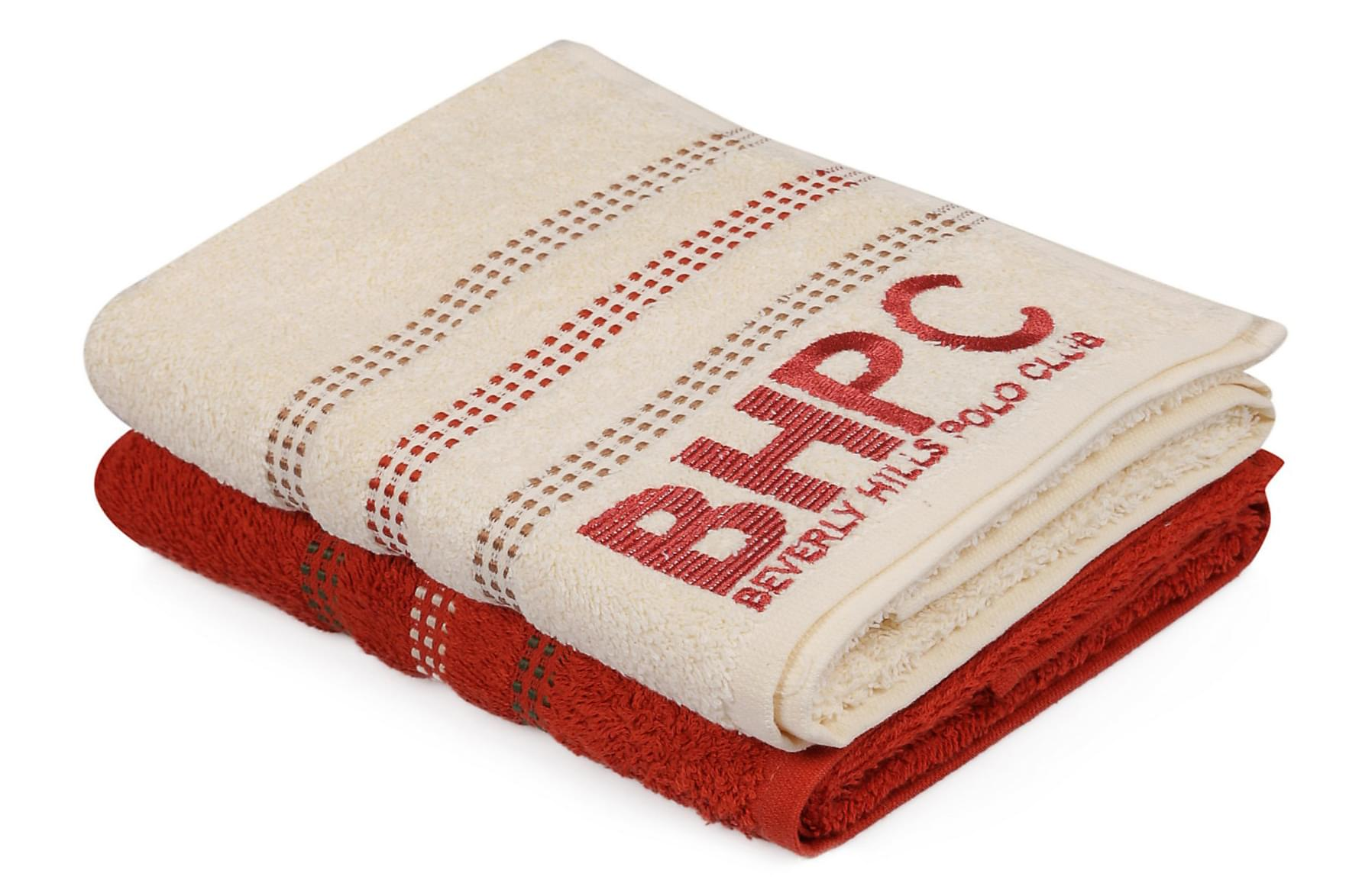 BEVERLY HILLS POLO CLUB Handduk 50×90 2-pack Röd/Creme