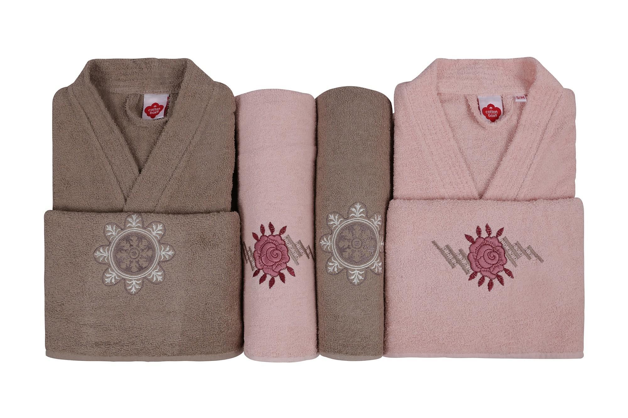 COTTON BOX Handduksset Familj Set om 4 Rosa/Beige
