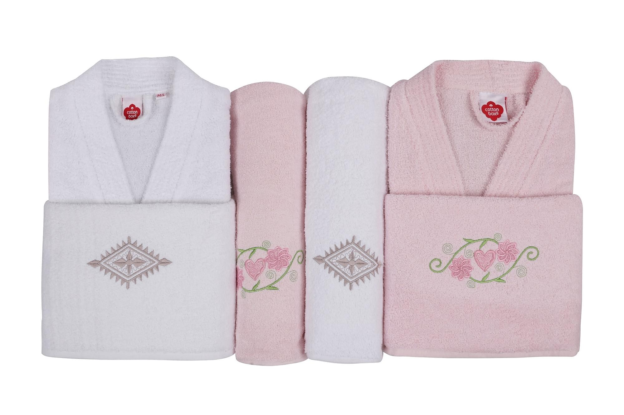 COTTON BOX Handduksset Familj Set om 4 Rosa/Vit