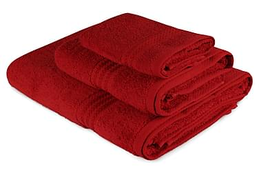 HOBBY Handduk Set om 3 Röd