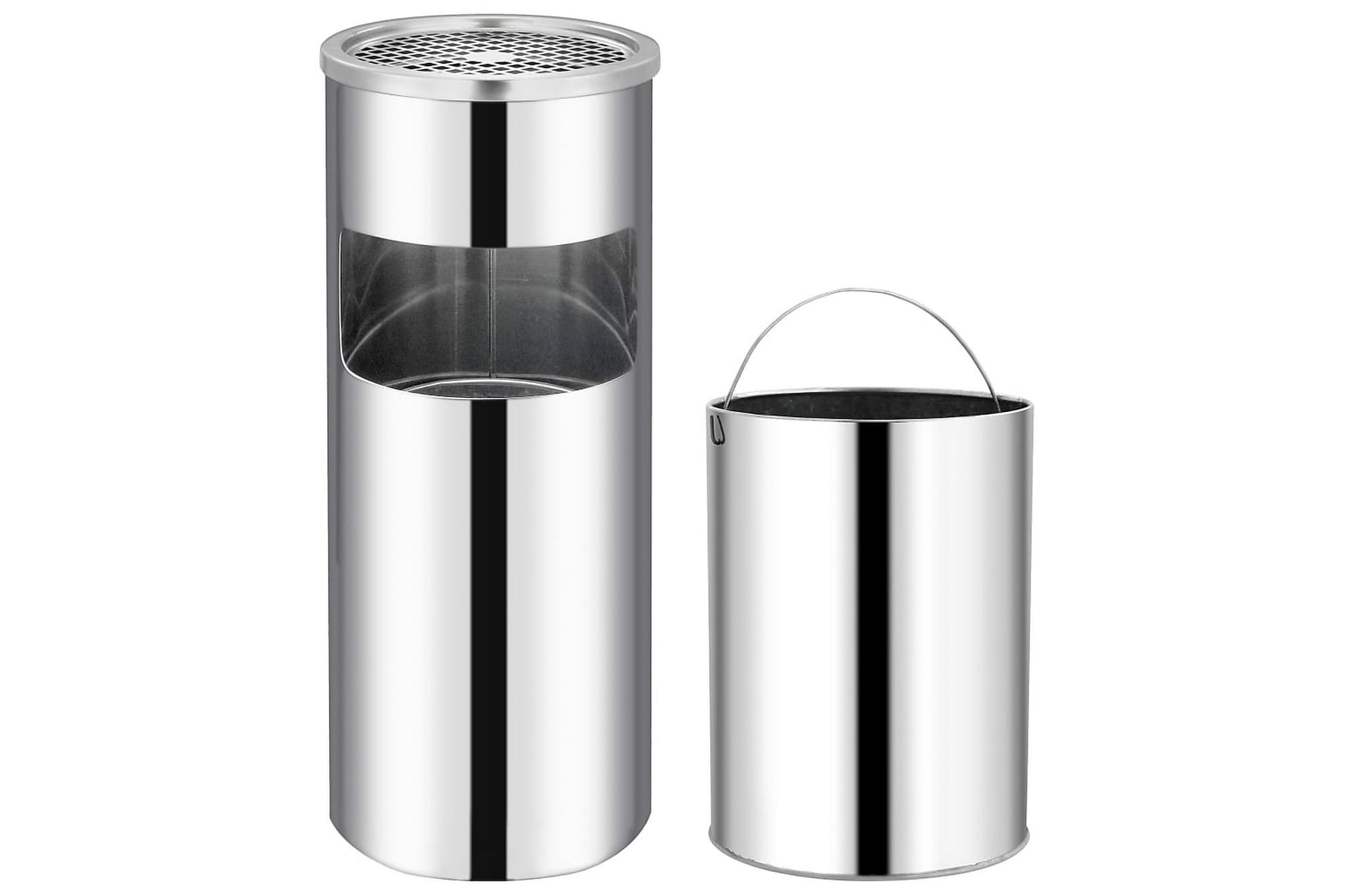 Askfat/soptunna 30 L rostfritt stål, Badrumstillbehör