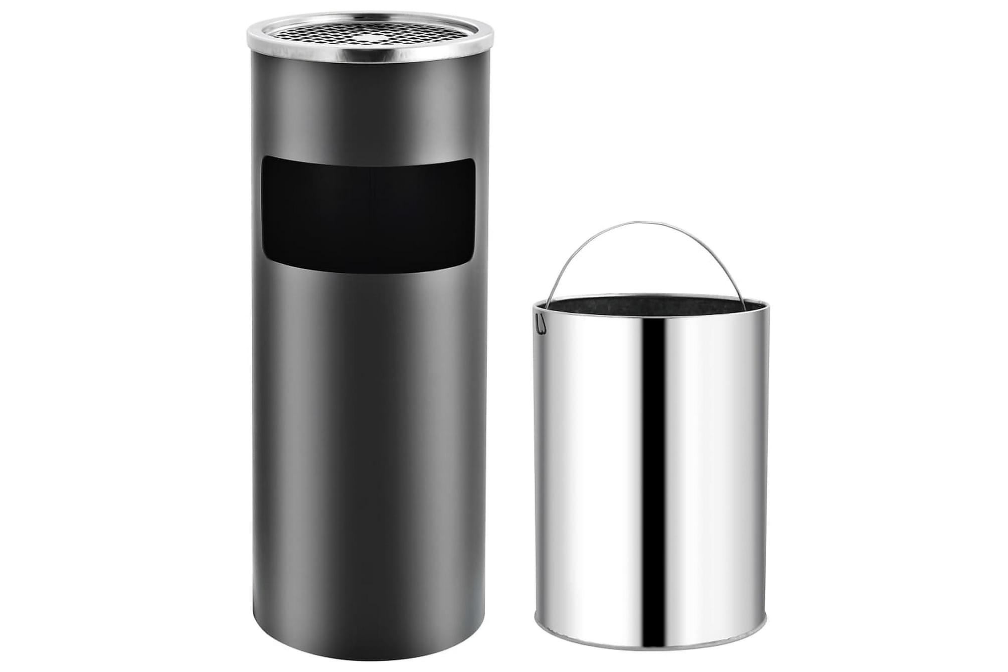 Askfat/soptunna 30 L stål grå, Badrumstillbehör
