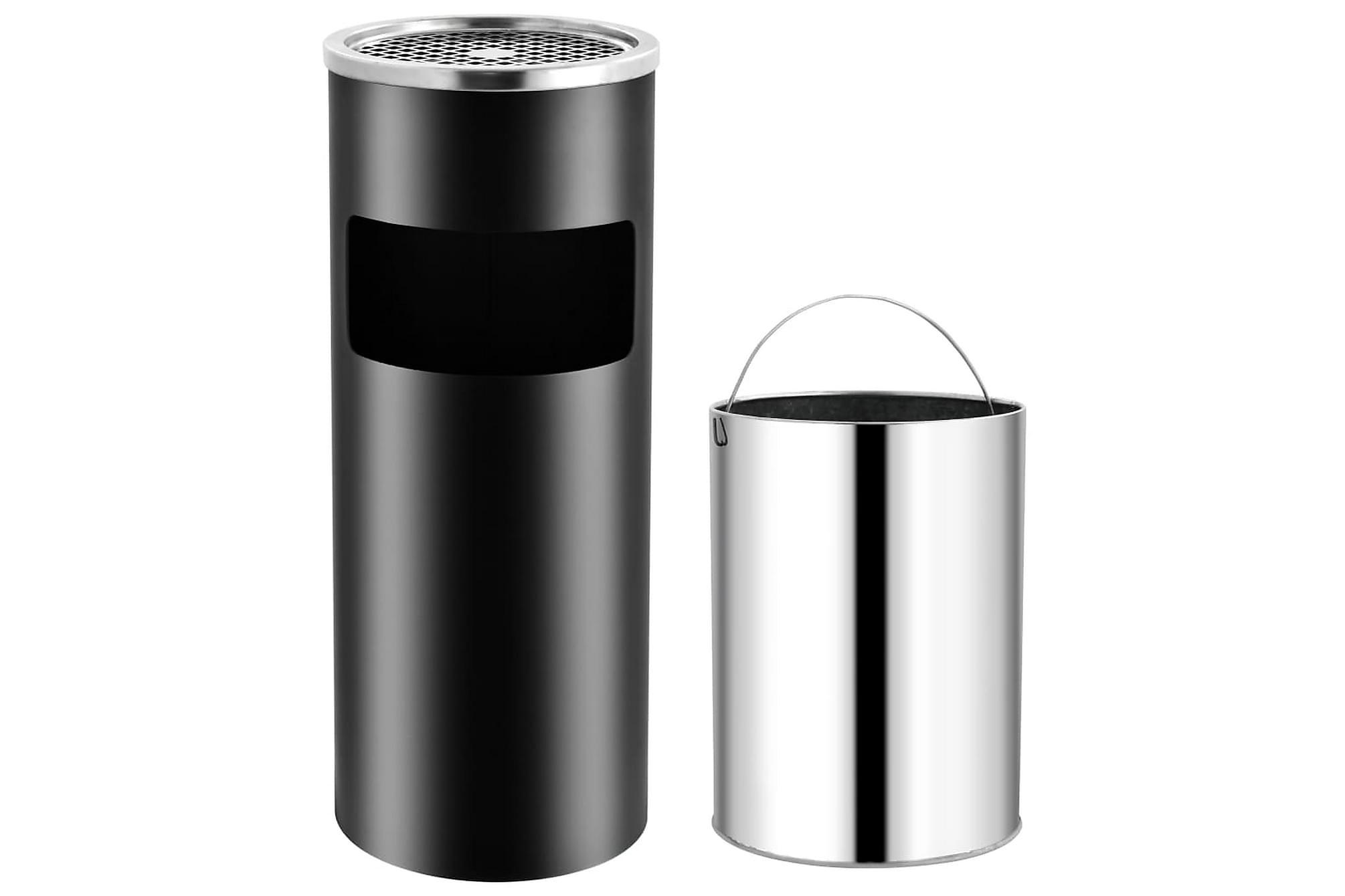 Askfat/soptunna 30 L stål svart, Badrumstillbehör