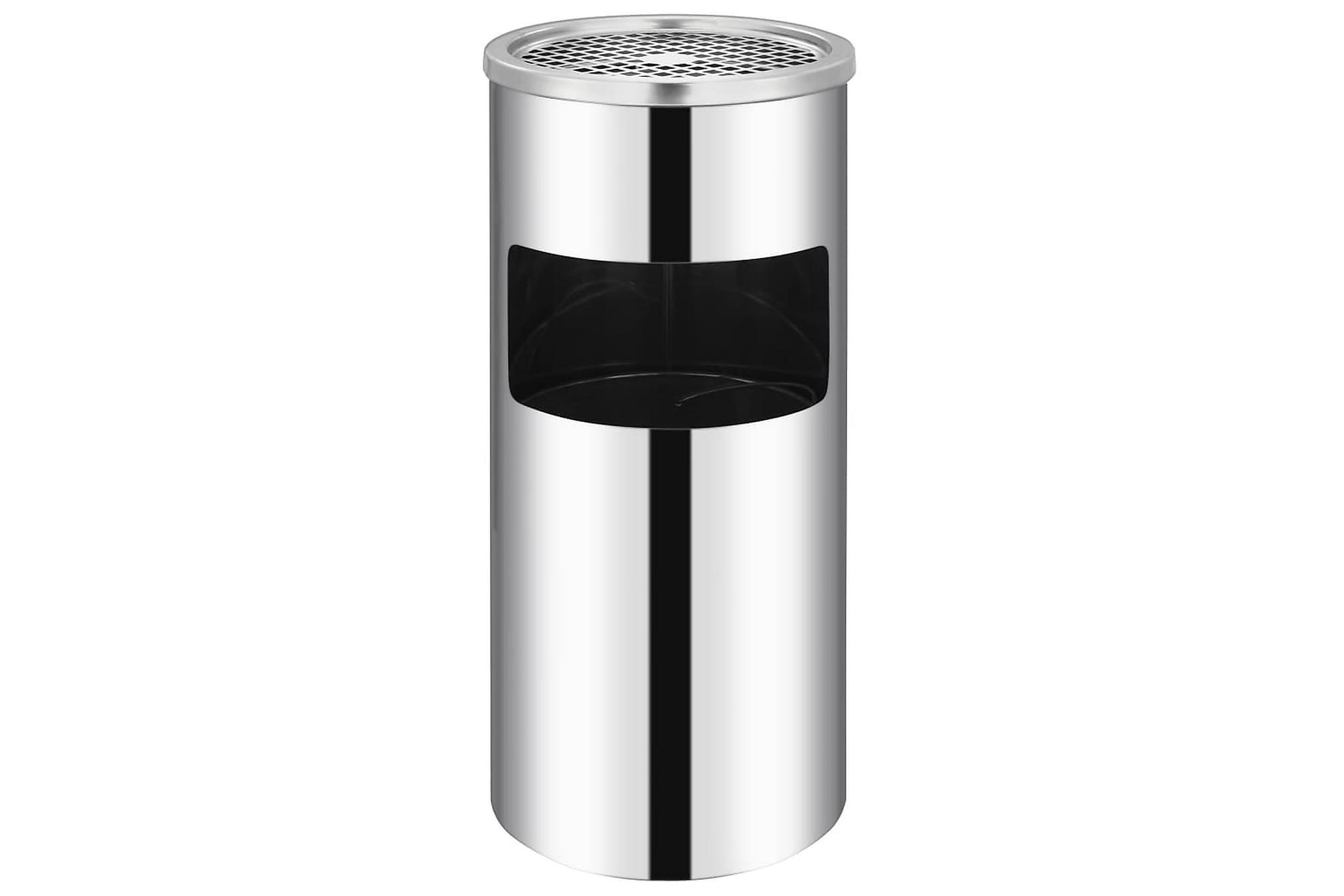 Askfat/soptunna för vägg rostfritt stål 36 L, Badrumstillbehör