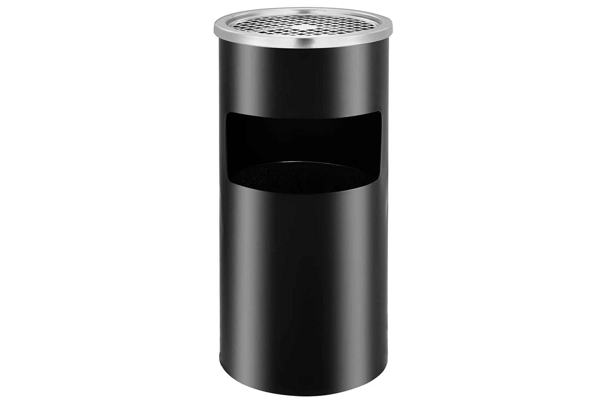 Askfat/soptunna för vägg stål 26 L svart, Badrumstillbehör