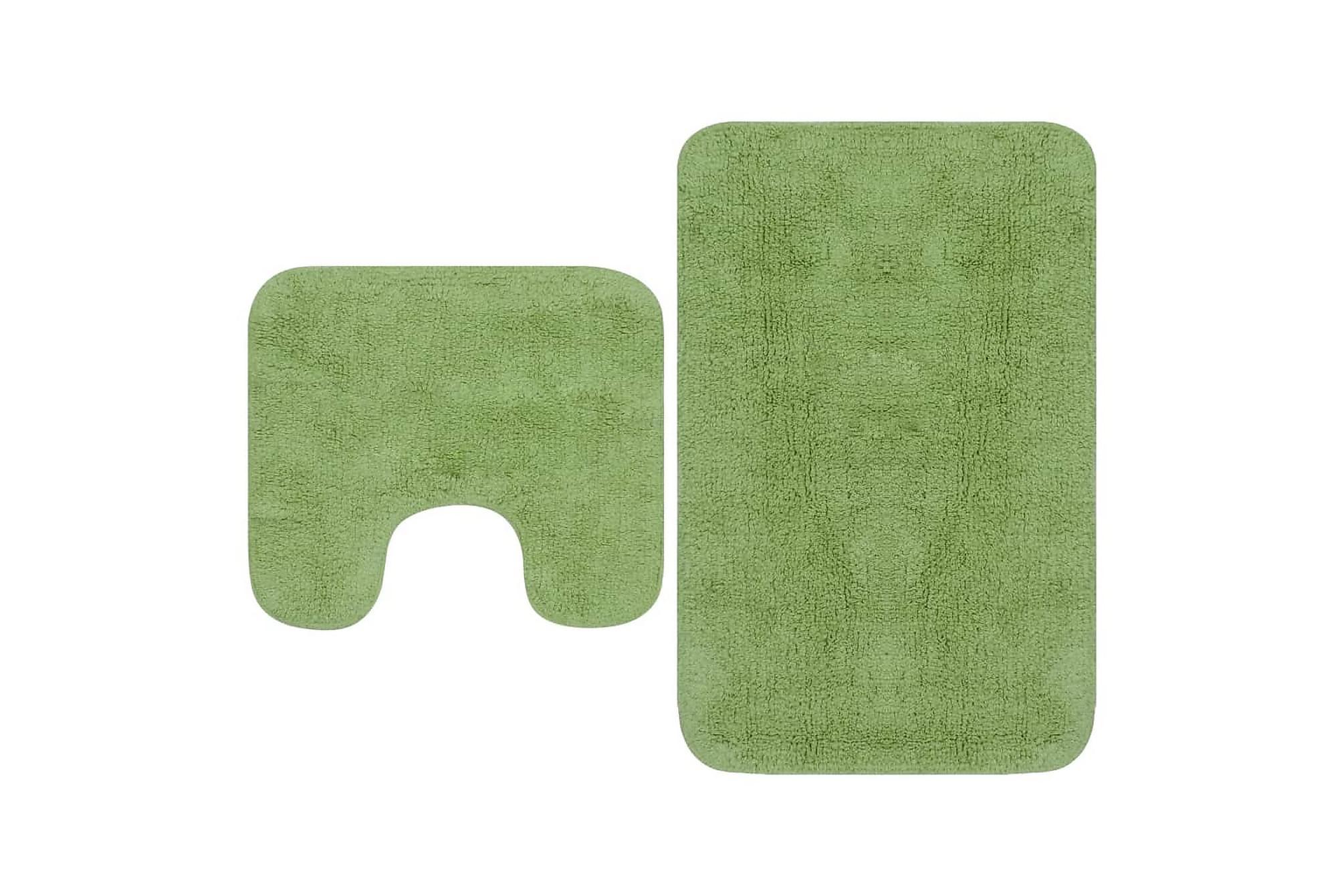 Badrumsmattor 2 st tyg grön, Badrumstillbehör