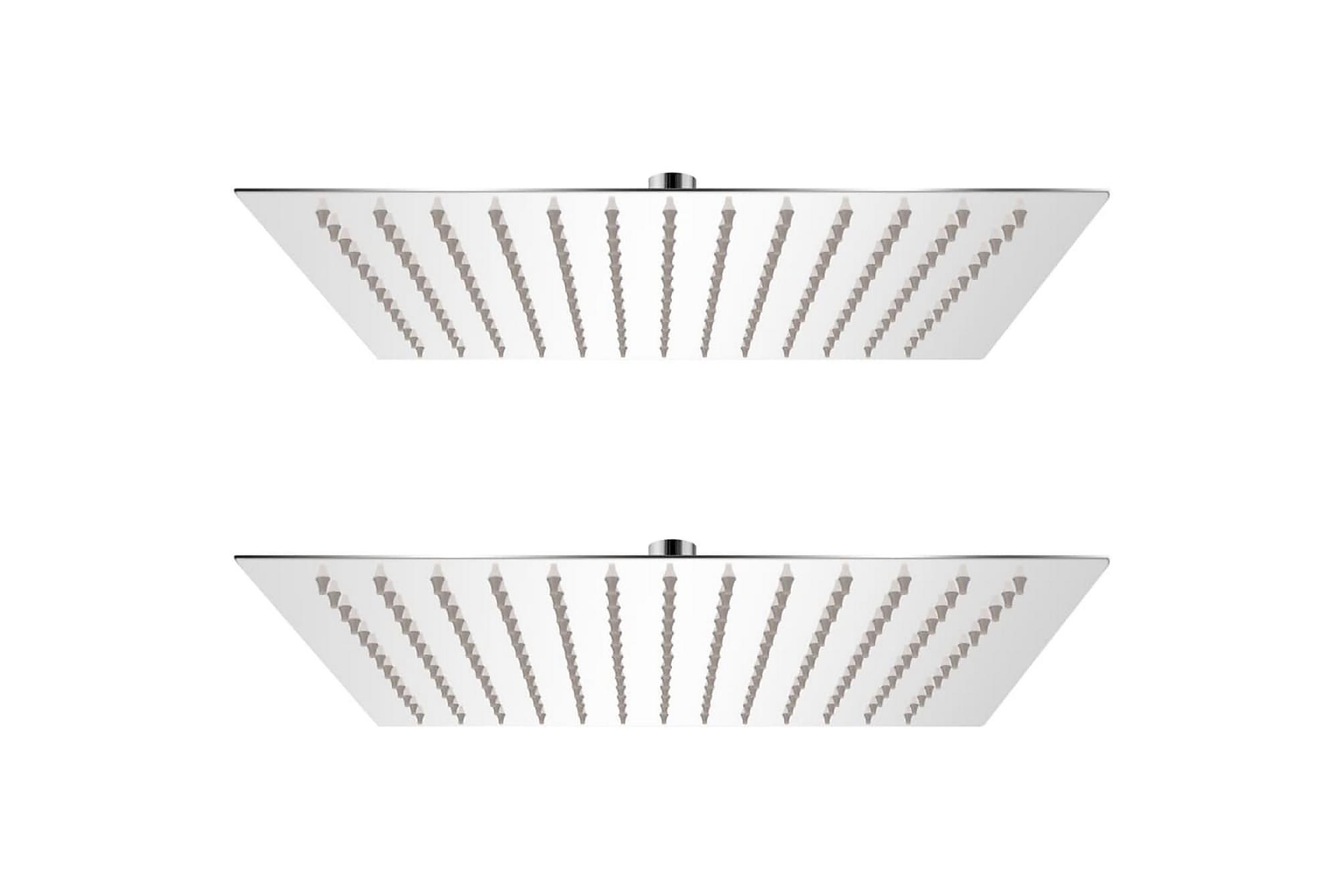 Regnduschhuvud 2 st rostfritt stål 25x25 cm
