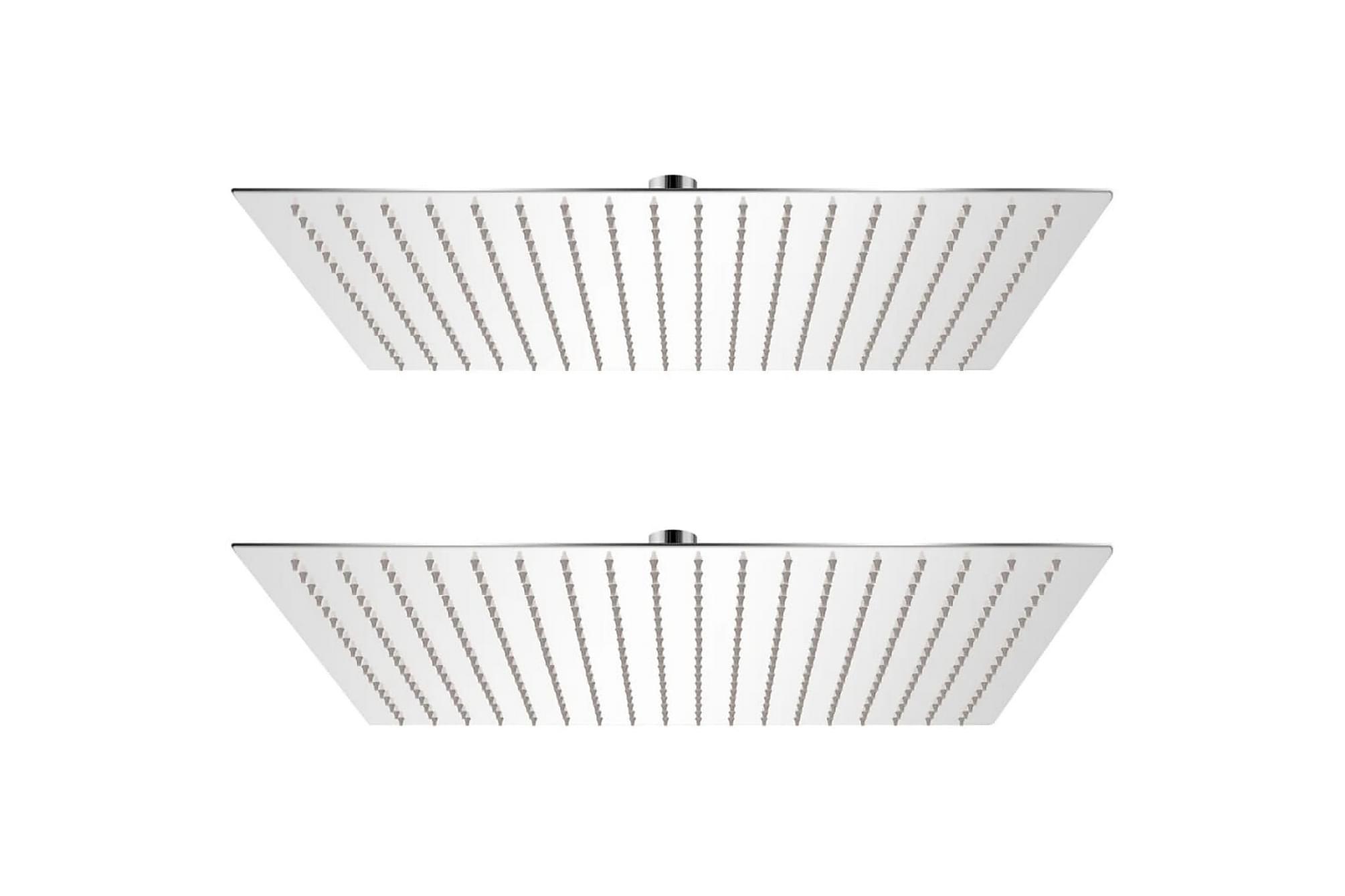 Regnduschhuvud 2 st rostfritt stål 50x50 cm