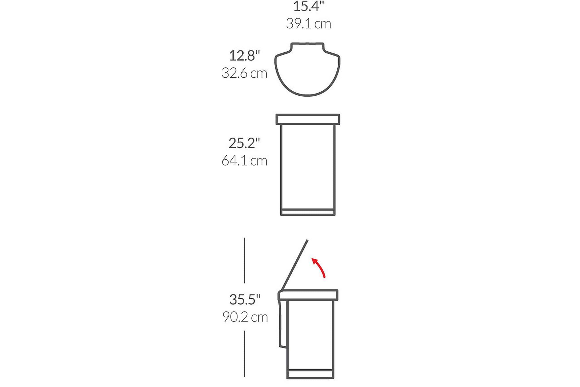 Rektangulär 2-facks touch bar tunna 48 liter