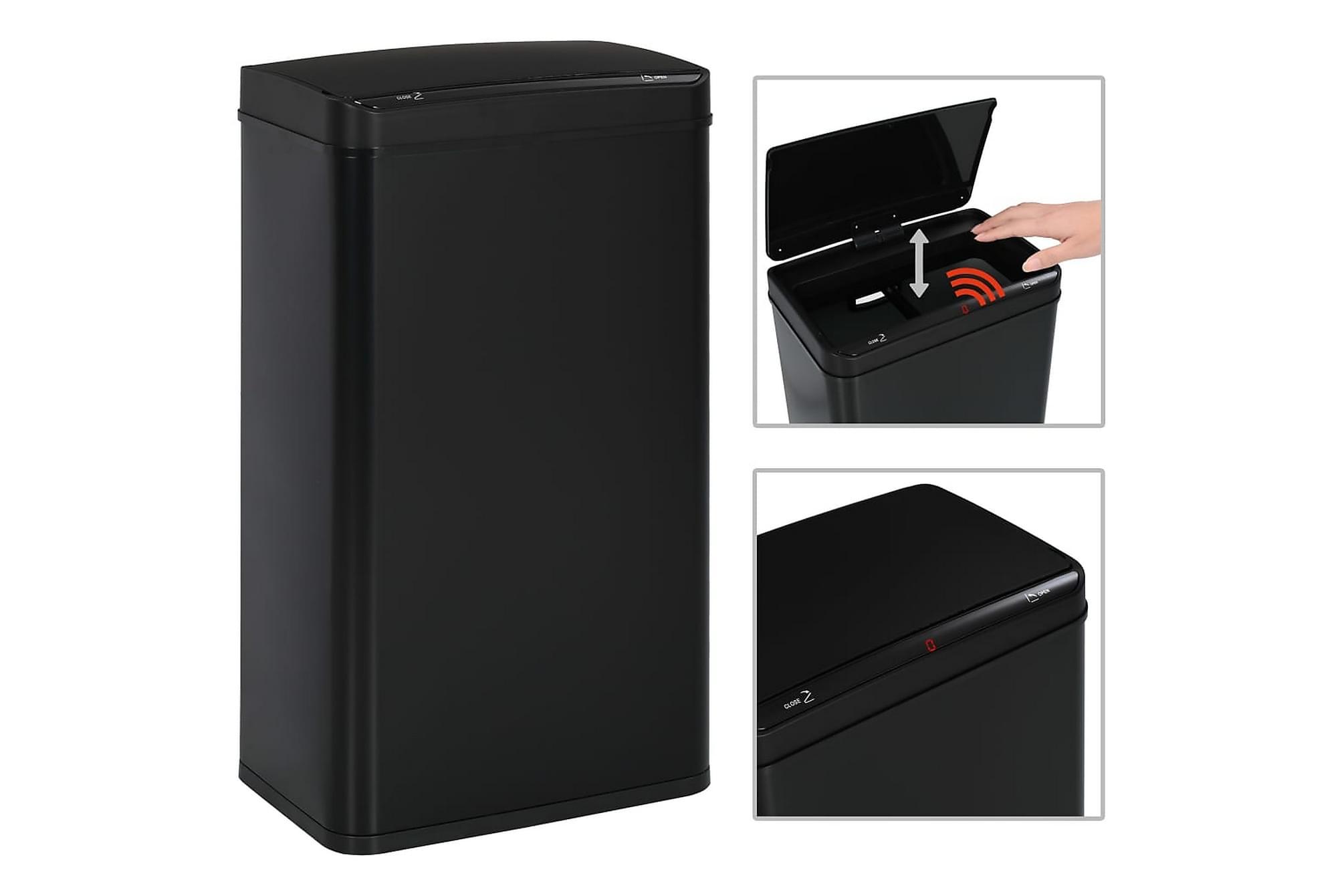 Soptunna med automatisk sensor svart stål 70 L