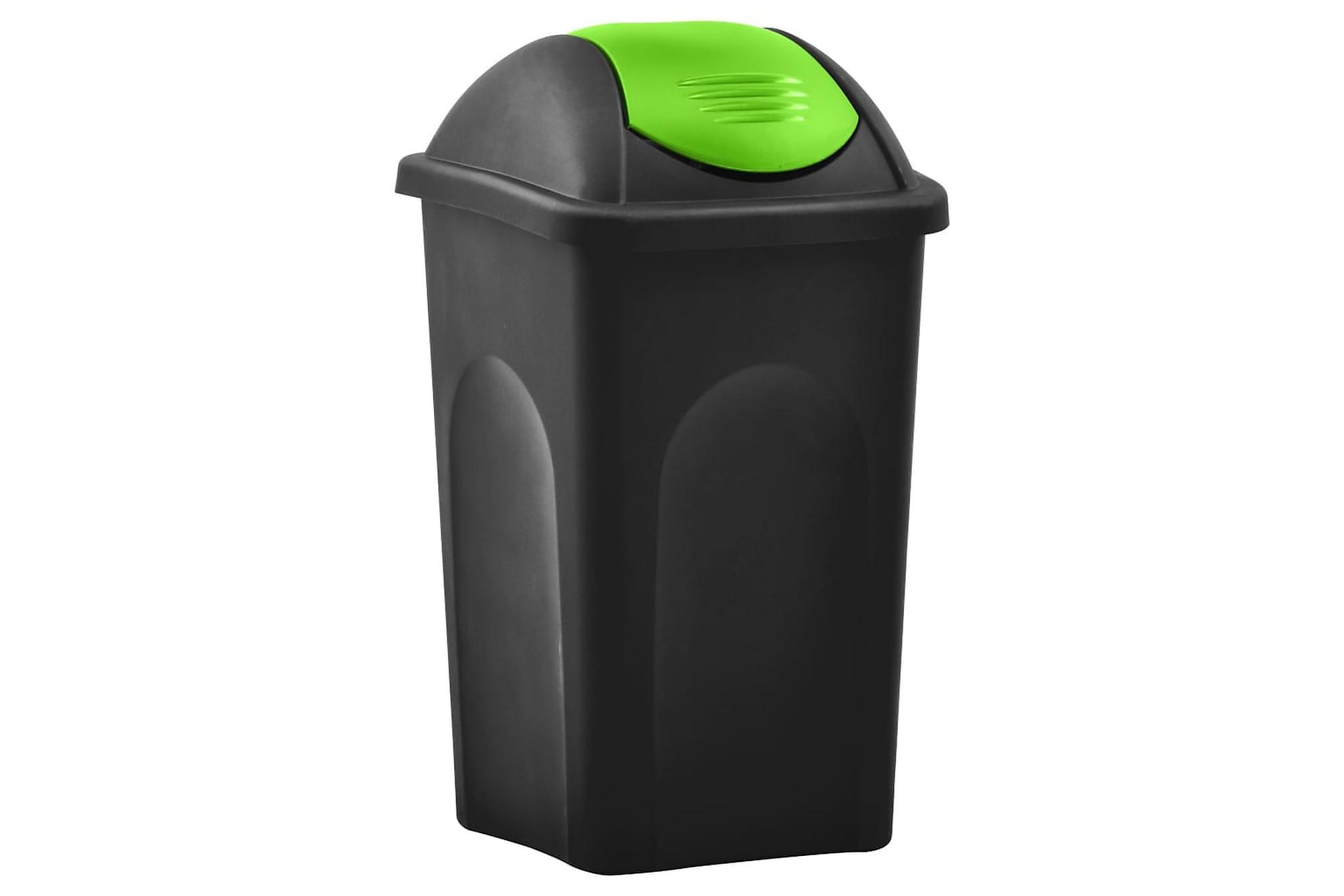 Soptunna med svänglock 60L svart och grön