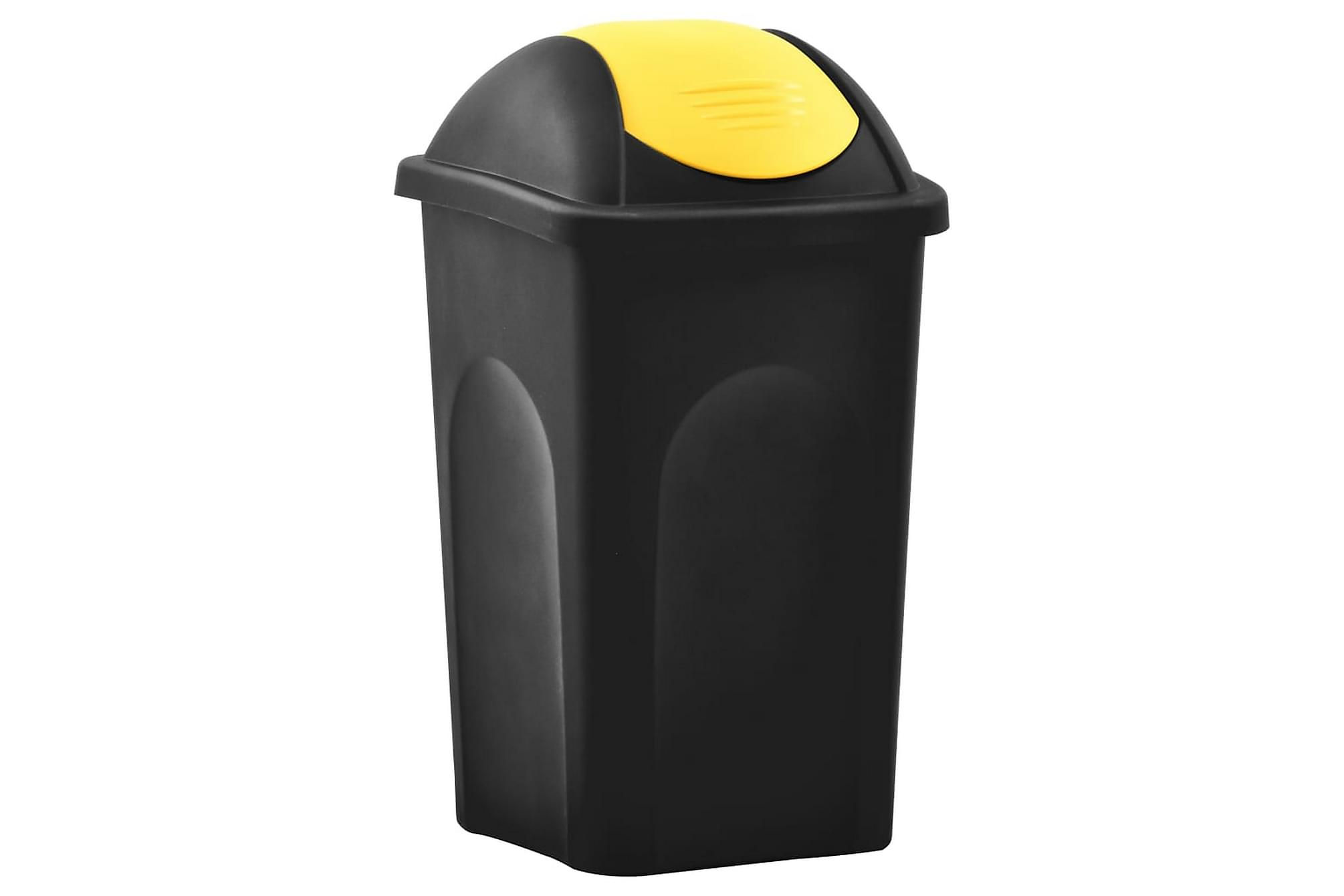 Soptunna med svänglock 60L svart och gul