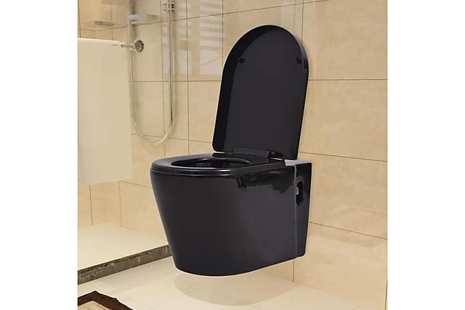 Toalettstol vägghängd keramisk svart - Svart - Möbler & Inredning - Inredning - Badrumstillbehör