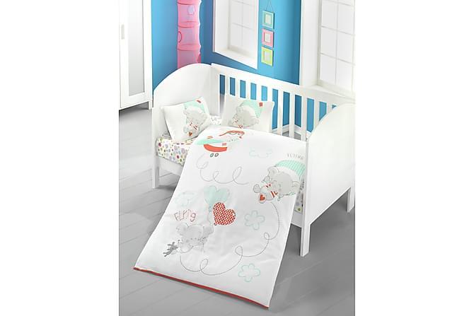 VICTORIA Bäddset Baby 4-dels Ranforce Vit/Grön/Orange/Grå - Möbler & Inredning - Inredning - Barninredning