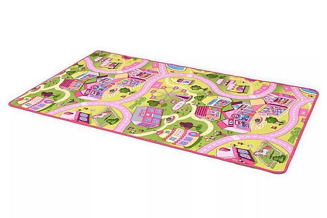 Lekmatta öglad lugg 100x165 cm söt stad - Rosa - Möbler & Inredning - Inredning - Barnmattor