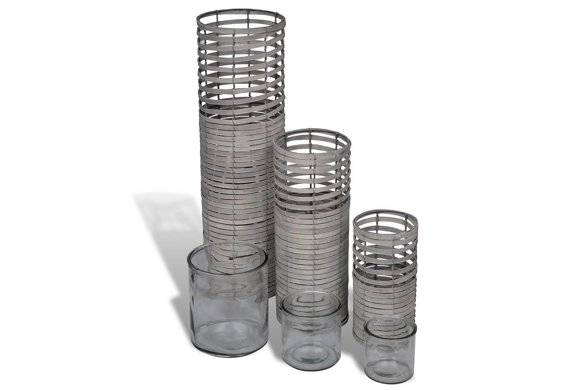 Handgjorda gråa ljushållare