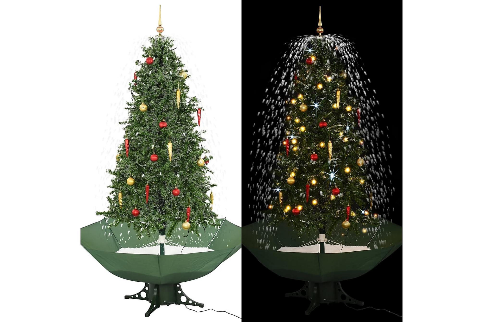 Julgran med snö och paraplybas grön 190 cm