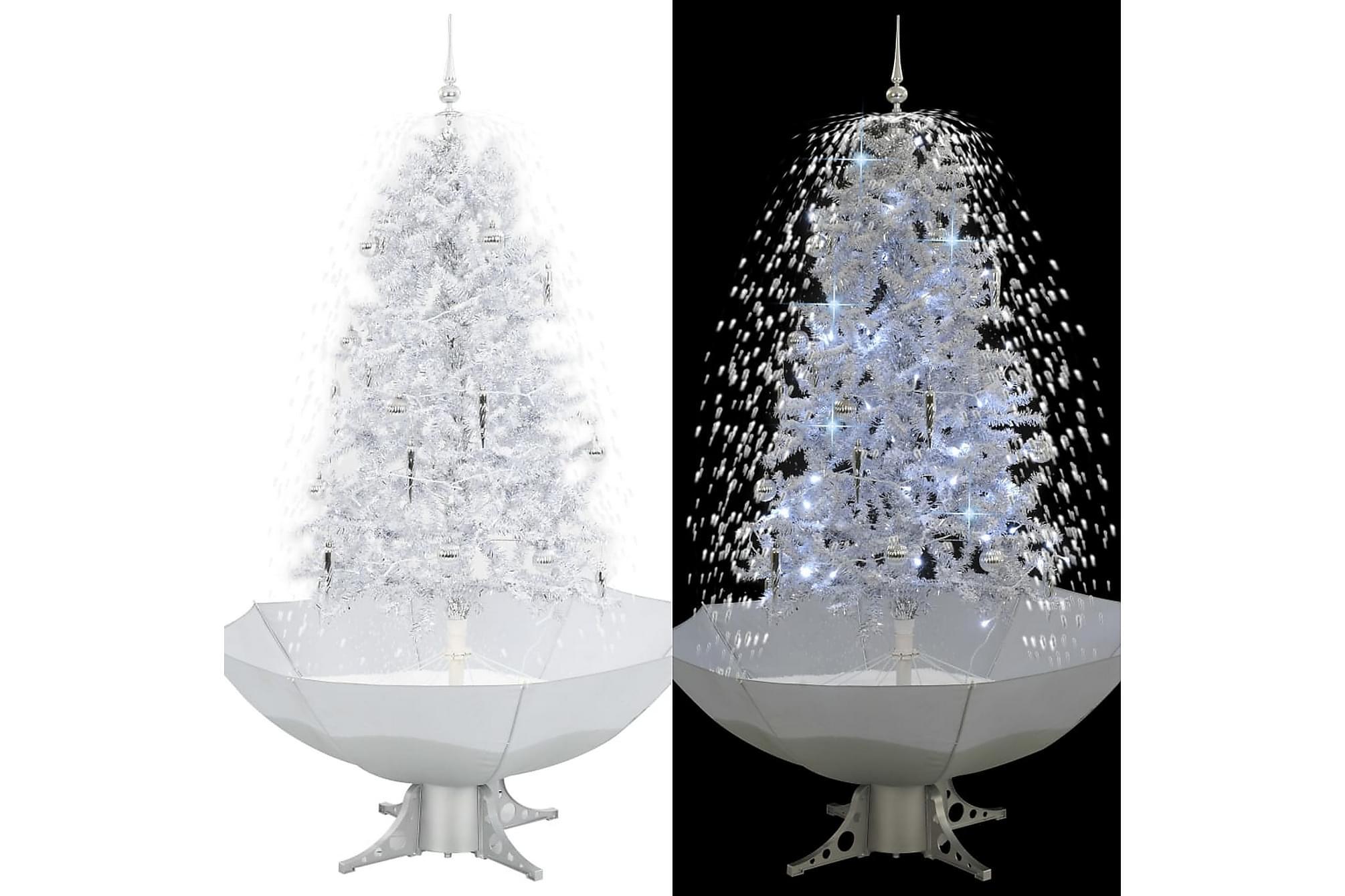 Julgran med snö och paraplybas vit 170 cm