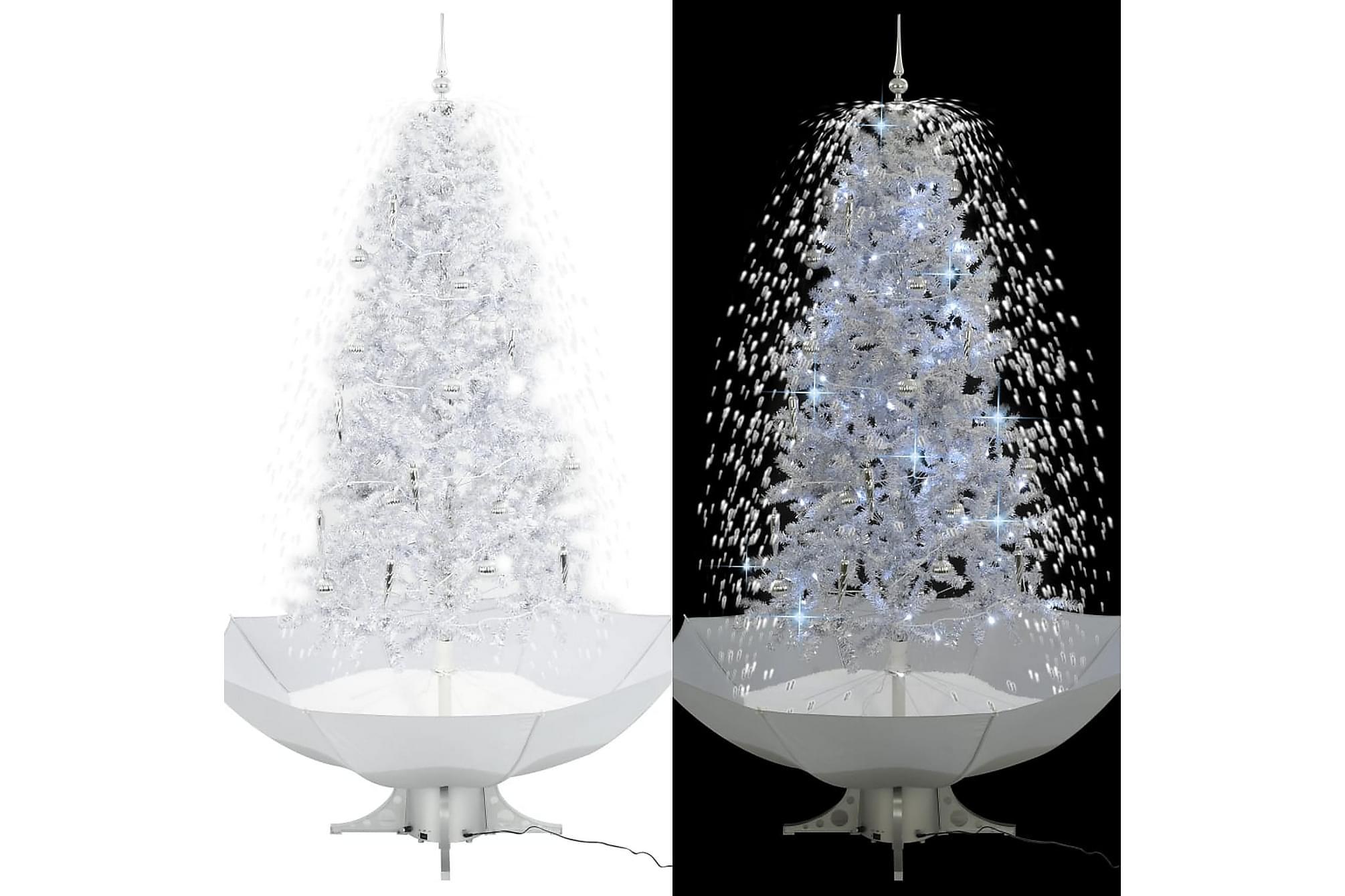 Julgran med snö och paraplybas vit 190 cm