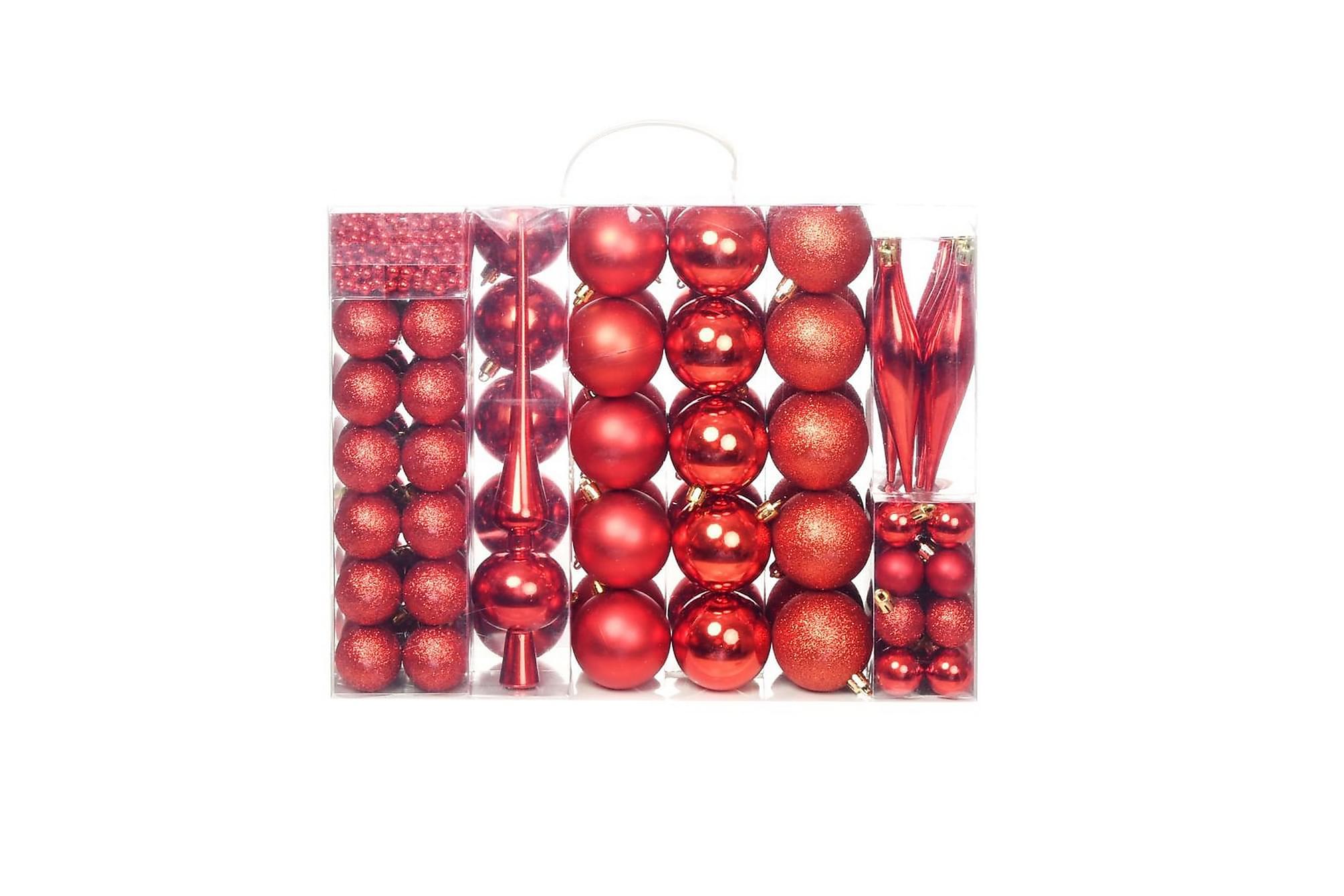 Julgranskulor 113 delar set 6 cm röd