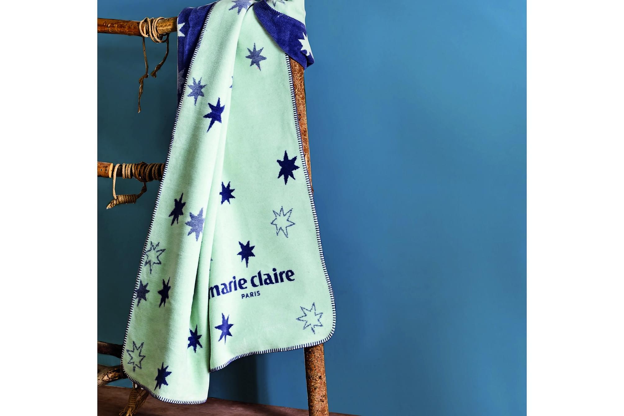 MARIE CLAIRE Pläd 130×170 Vit/Mörkblå