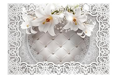 FOTOTAPET Lilies And Quilted Background 200x140