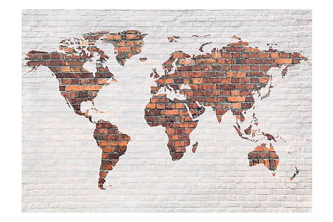 FOTOTAPET World Map Brick Wall 150x105 - Finns i flera storlekar - Inomhus - Inredning - Fototapeter