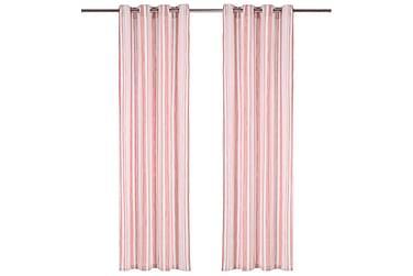 Gardiner med metallringar 2 st bomull 140x175 cm rosa randig