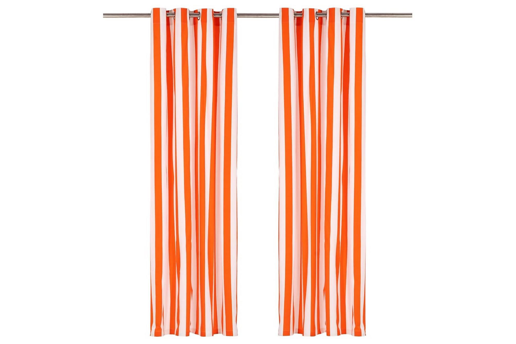Gardiner med metallringar 2 st tyg 140×225 cm orange ränder