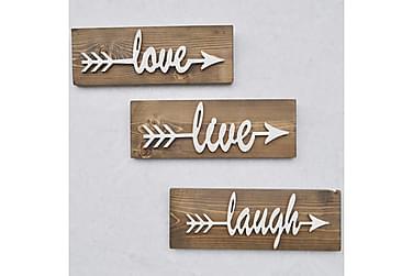 LESPALME Väggdekoration Love Live Laugh' Trä