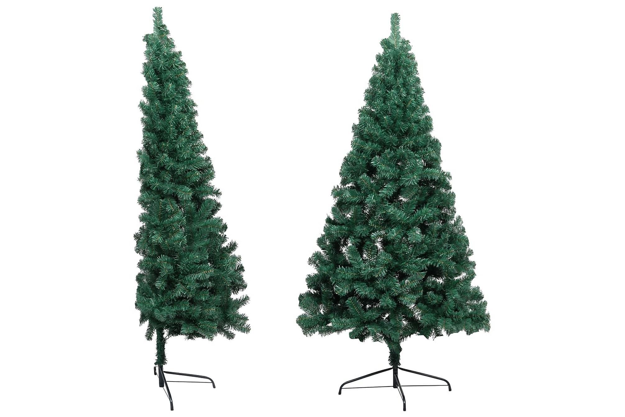 Halv plastgran med fot grön 185 cm PVC, Julpynt & juldekoration