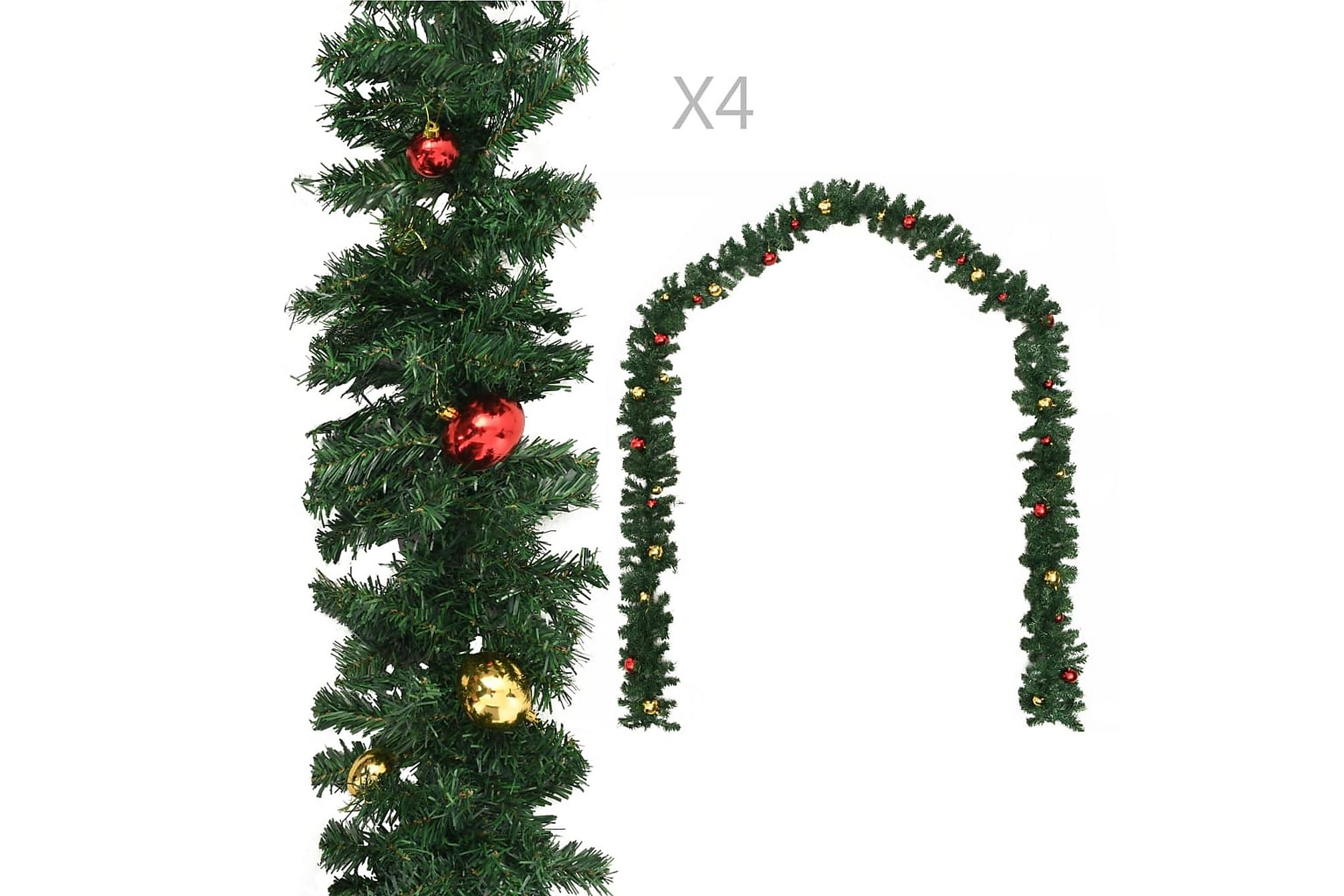 Julgirlanger 4 st med julkulor grön 270 cm PVC, Julpynt & juldekoration