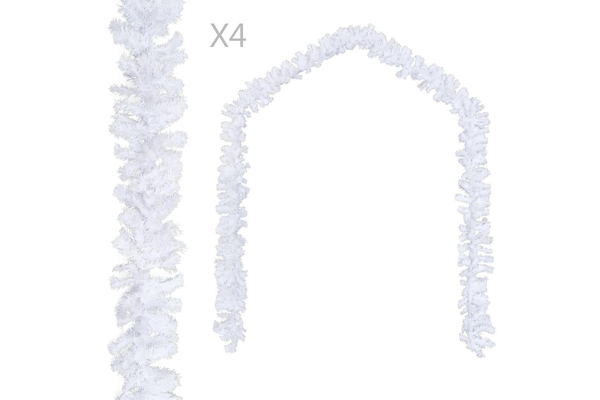 Julgirlanger 4 st vit 270 cm PVC, Julpynt & juldekoration