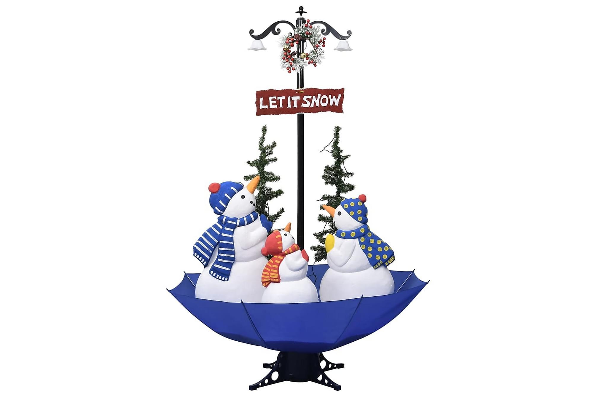 Julgran med snö och paraplybas blå 170 cm PVC, Julpynt & juldekoration
