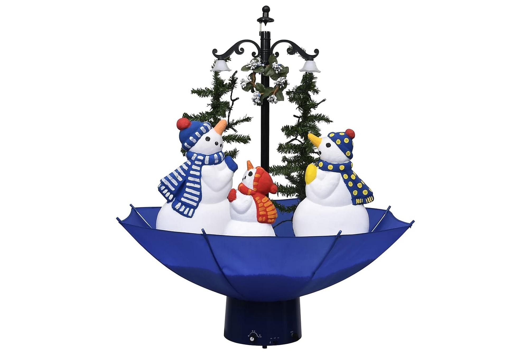 Julgran med snö och paraplybas blå 75 cm PVC, Julpynt & juldekoration