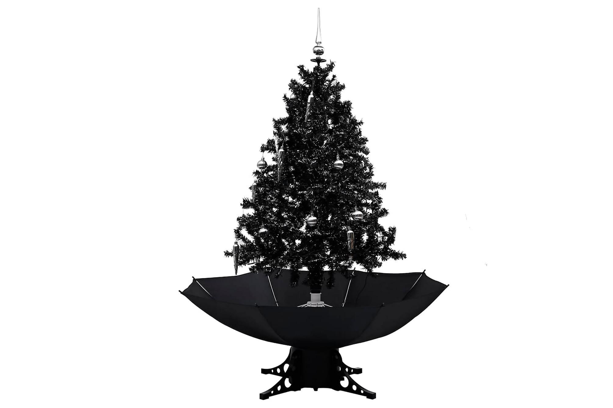 Julgran med snö och paraplybas svart 140 cm PVC, Julpynt & juldekoration