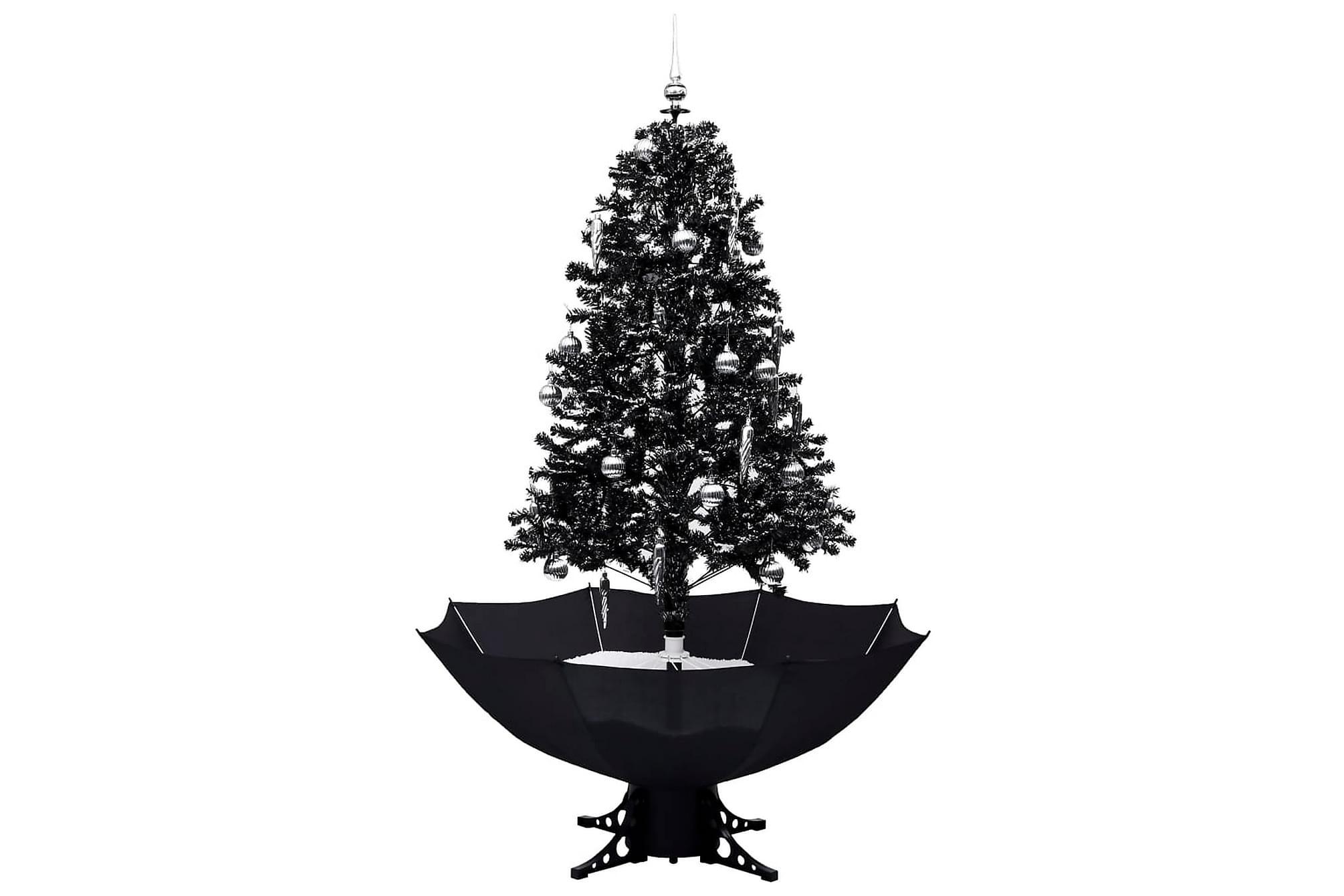 Julgran med snö och paraplybas svart 170 cm PVC, Julpynt & juldekoration