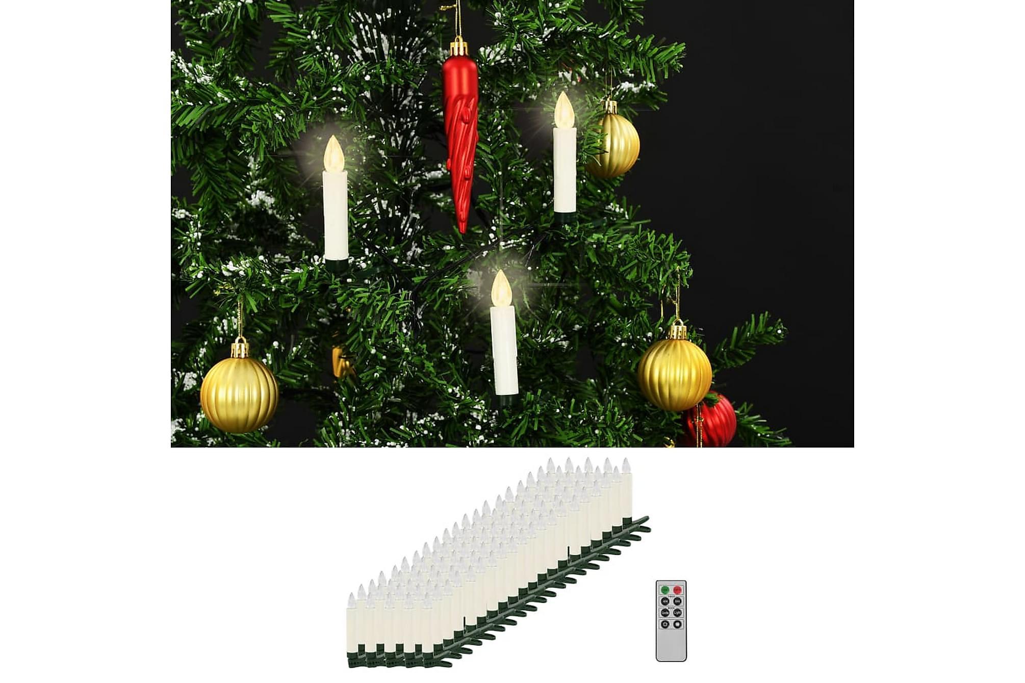 Trådlösa LED-ljus med fjärrkontroll 100 st varmvit