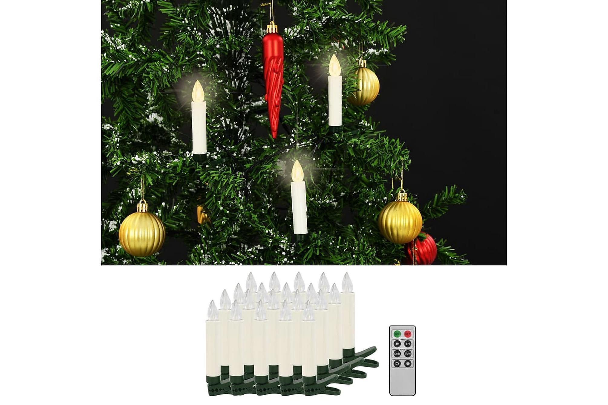 Trådlösa LED-ljus med fjärrkontroll 20 st varmvit