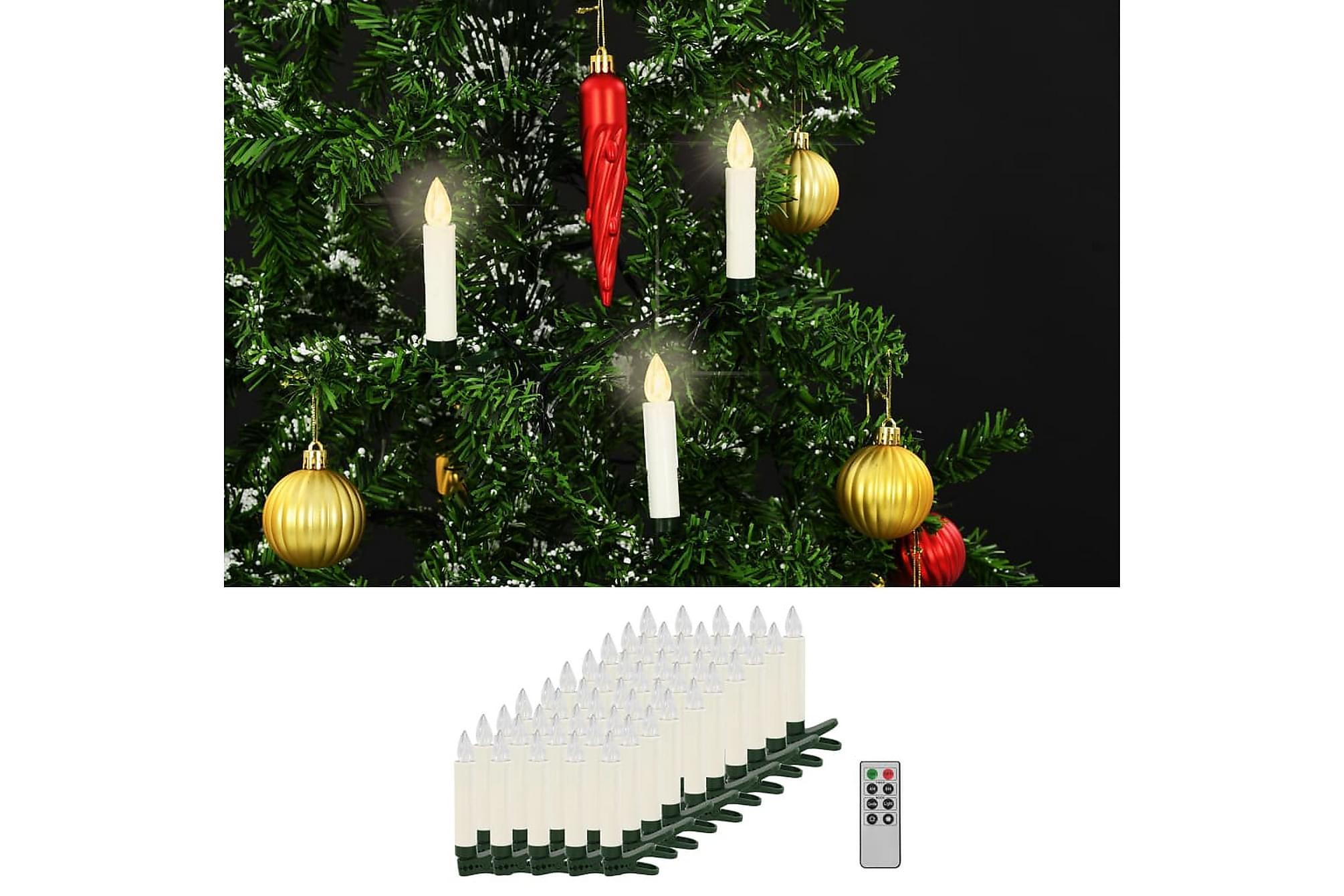 Trådlösa LED-ljus med fjärrkontroll 50 st varmvit